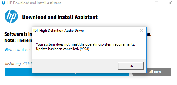 windows 10 no audio output device is installed hp