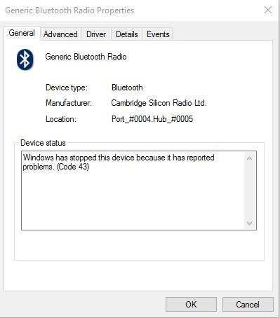 Generic Bluetooth Dongle - Error Code 43