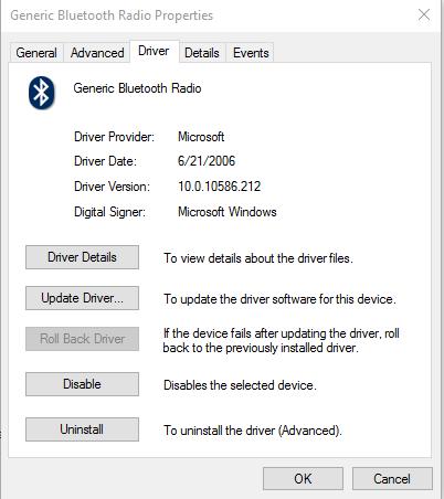 windows generic bluetooth adapter code 10