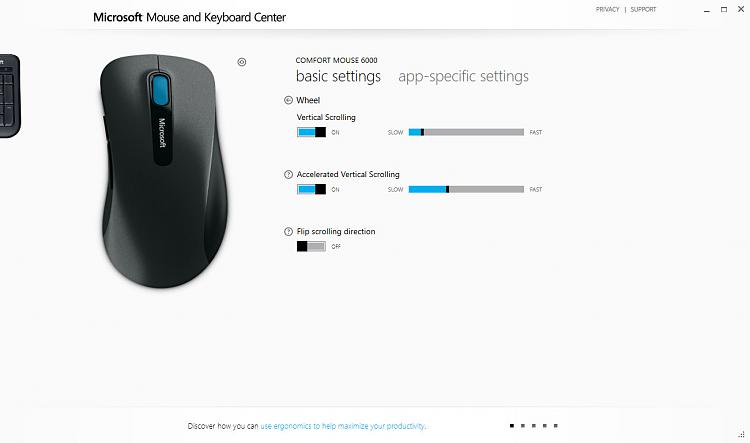 Microsoft Mouse & Keyboard Center - ? vertical wheel scrolling