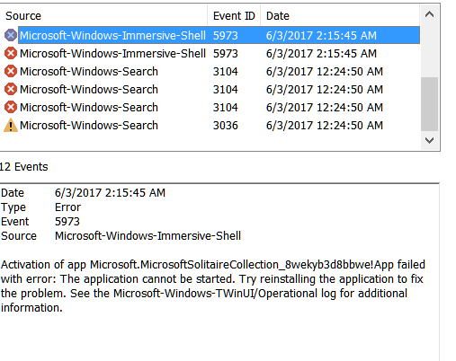 Event Error 5973 on Microsoft Solitaire Collection - Windows