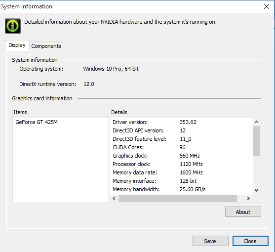 Click image for larger version.  Name:nvidiaysinfowin10.png Views:293 Size:17.9 KB ID:30275