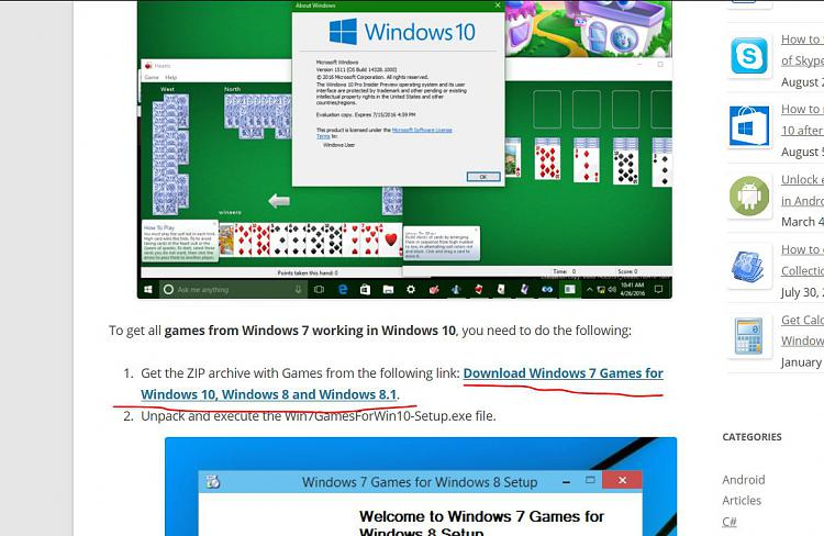 windows 7 freecell does not work on win 10 after 1607 upgrade