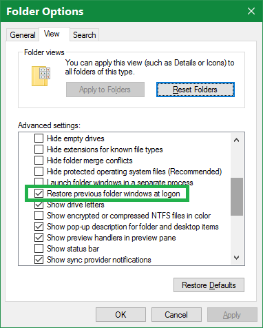 Click image for larger version.  Name:Restore Folders At Windows Logon.png Views:21 Size:16.7 KB ID:108016