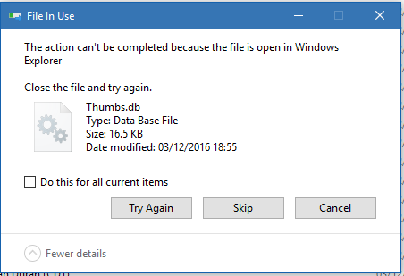 How do I solve the \u0027Thumbs.db in use\u0027 when trying to delete folders