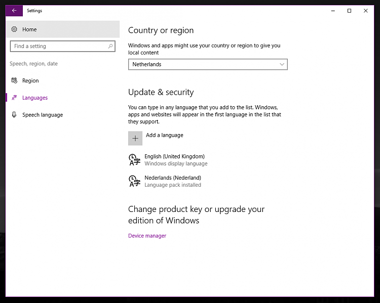 how to change windows 10 language completely