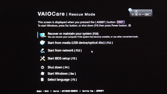 Click image for larger version.  Name:Sony VAIO Rescue Mode menu.png Views:67 Size:248.5 KB ID:115376