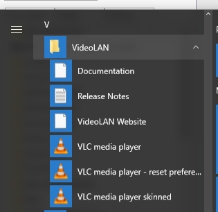 Win 10: not all programs are alphabetically listed-vlc-start.png