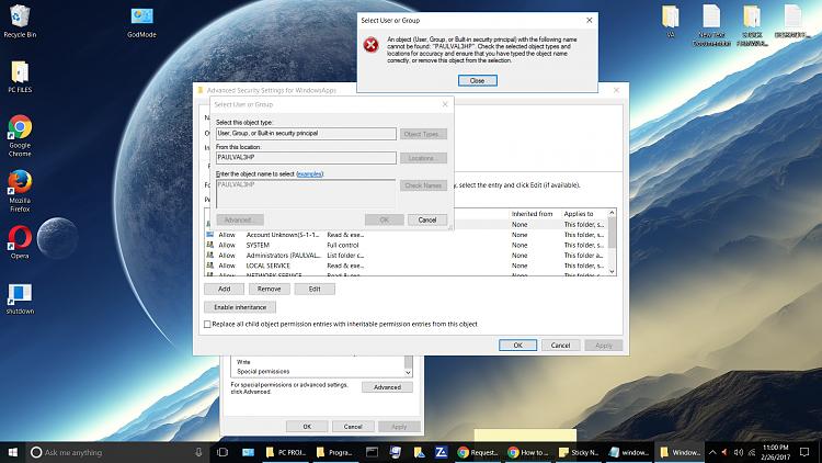 Request advice in fixing a security error in Windows 10