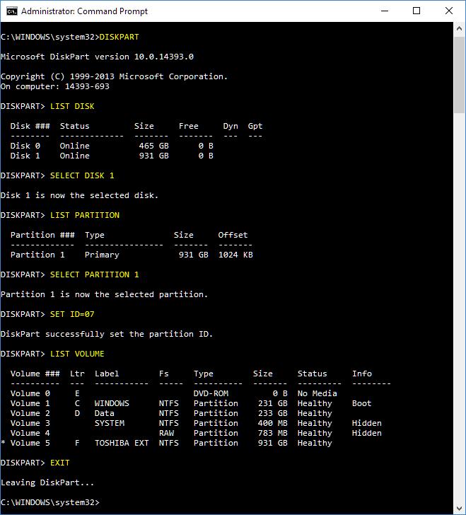Click image for larger version.  Name:Diskpart set NTFS.PNG Views:24 Size:32.8 KB ID:123879