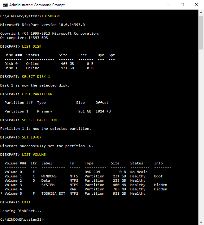 Click image for larger version.  Name:Diskpart set NTFS.PNG Views:23 Size:32.8 KB ID:123879