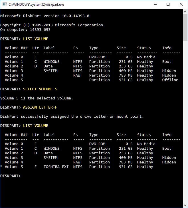 Click image for larger version.  Name:Diskpart set volume letter.PNG Views:23 Size:32.6 KB ID:123880