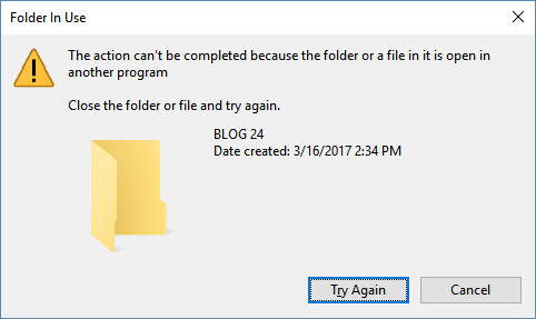 the action can\u0027t be completed because the folder a file in it