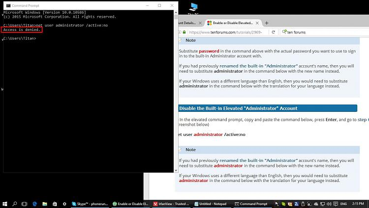 Windows 10 command prompt access denied | [SOLVED] Windows 7 cmd