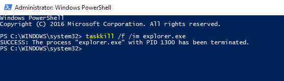 Click image for larger version.  Name:Kill Explorer in powershell.png Views:5 Size:10.6 KB ID:133045