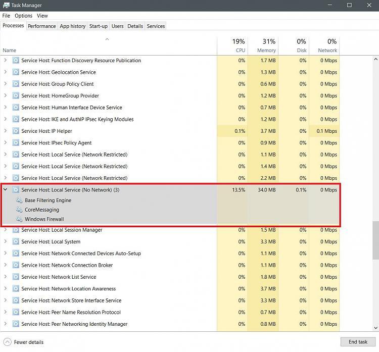 windows 10 service host cpu usage