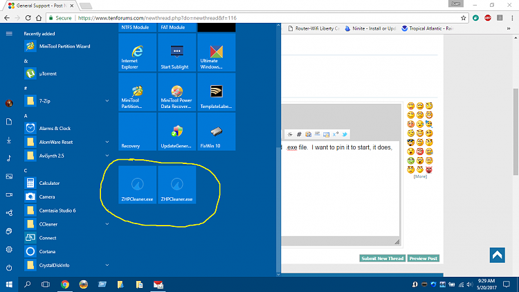 how to delete icons from start menu windows 10