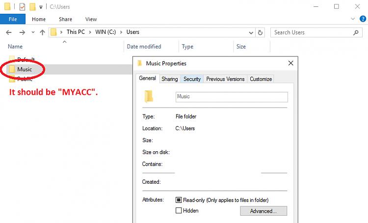 Folder stuck on