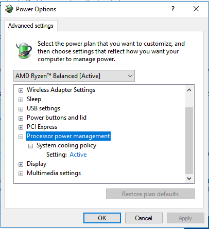 Windows 10 power options/ processor power management