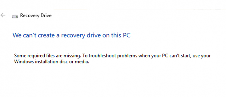 Click image for larger version.  Name:Recovery Drive Error.PNG Views:2 Size:46.6 KB ID:148649