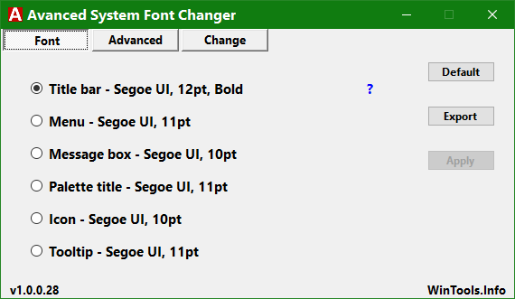 Click image for larger version.  Name:Advanced System Font Changer - My Settings.png Views:48 Size:11.7 KB ID:154459