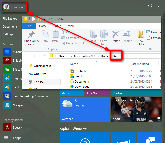 how to change my profile name on windows 10