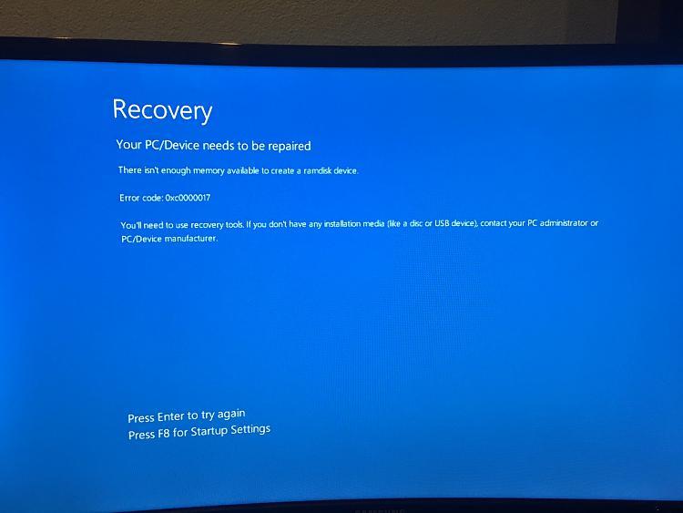 Preparing automatic repair - stuck - Desktop won't load Windows, stuck-not-enough-memory.jpg