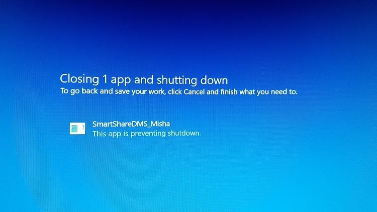 My LG Smartshare software doesn't let Windows 10 shutdown
