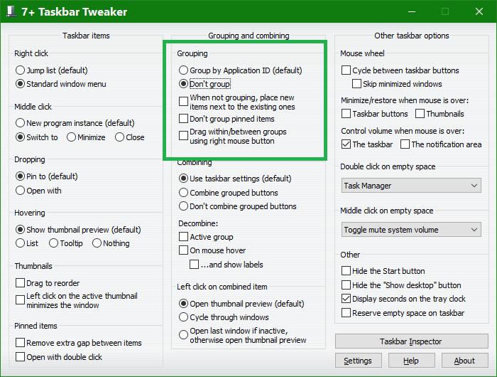 Click image for larger version.  Name:7+ TaskBar Tweaker - Grouping & Combining.png Views:6 Size:45.1 KB ID:170896