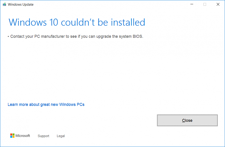 Click image for larger version.  Name:Win10 couldn't be installed.png Views:109 Size:14.6 KB ID:172462
