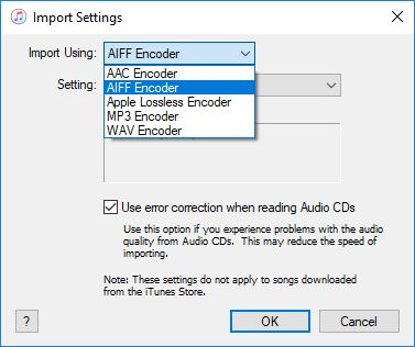 Click image for larger version.  Name:ITunes import settings.JPG Views:13 Size:30.8 KB ID:179404