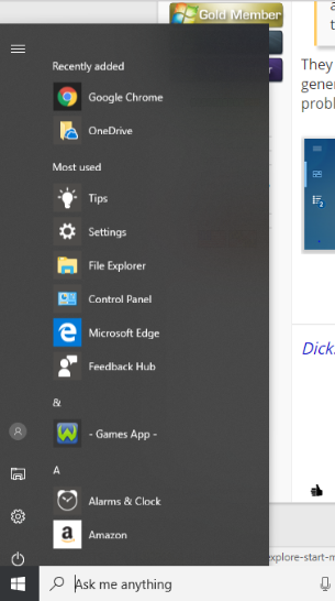 """Life at a glance"" and ""Play and explore"" start menu tabs are missing.-urwrong.png"