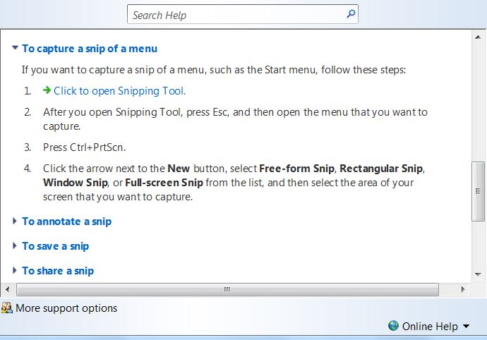 snipping tool menu capture not working