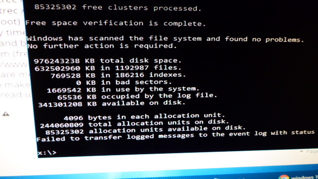 Black Screen with Mouse Cursor with continual repair loops-chkdsk.jpg