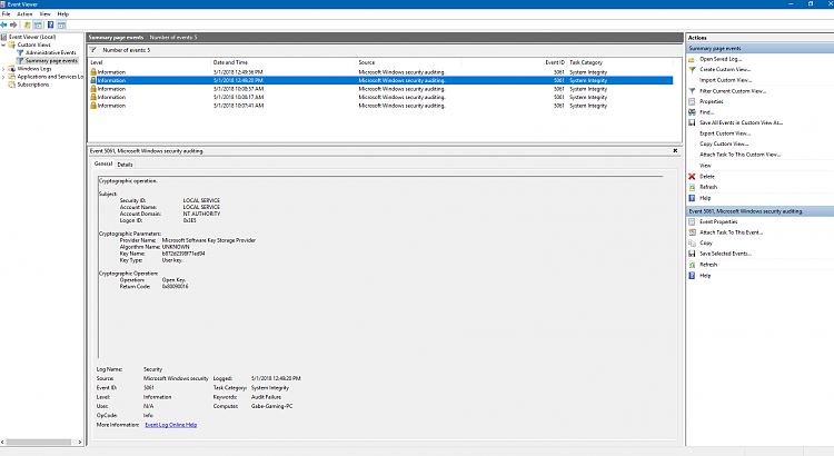 Event ID 5061 Audit Failure after April Update  - Windows 10