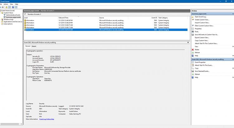 Event ID 5061 Audit Failure after April Update  - Windows 10 Forums