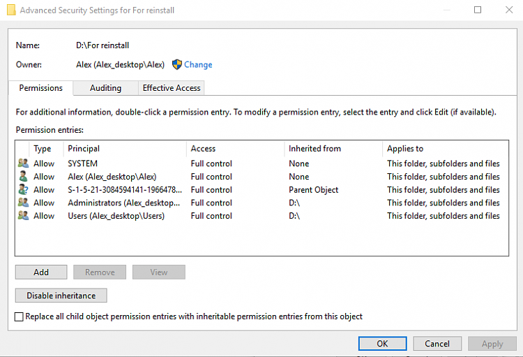 Can change permissions of whole folders, have to do it file