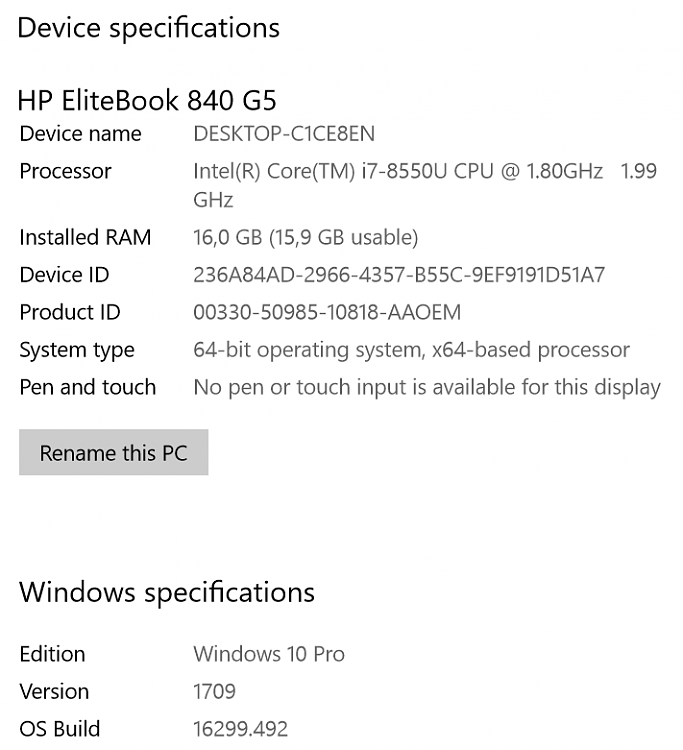 hp elitebook 840 g5 memory specs
