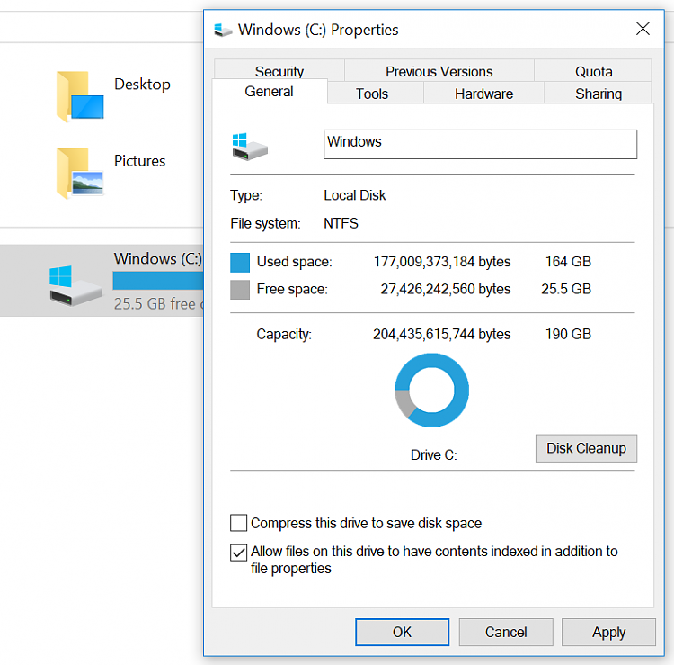 Win10 keeps compressing C drive files (new and old). Cannot stop it.-c-drive-25gb-sapce.png