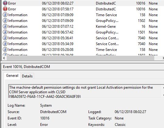 DistributedCOM issue - Windows 10 Forums