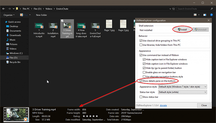 windows 10 file explorer status bar details