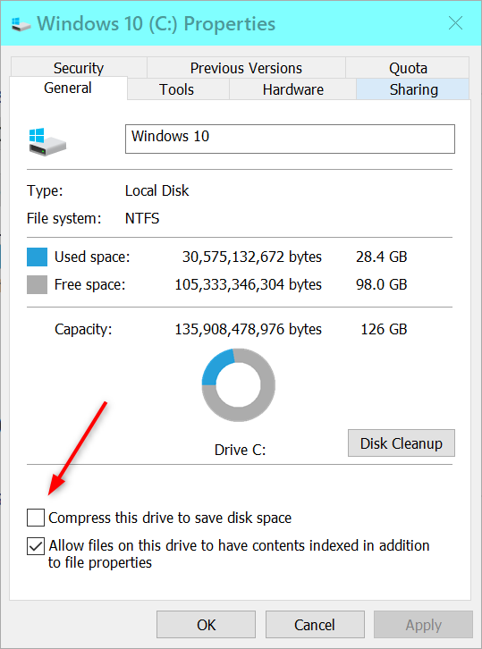 Win10 keeps compressing C drive files (new and old). Cannot stop it.-2019-03-02_19h44_09.png