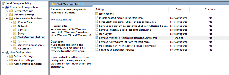 """""""Show most used apps"""" is disabled and it affects the """"Run"""" history?-remove-frequent-programs-list-gp.png"""