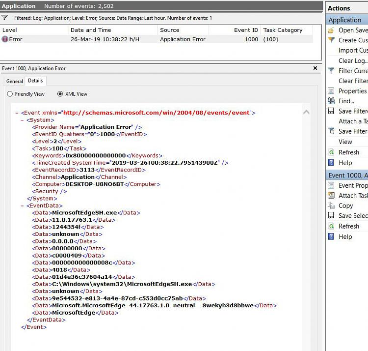 XML View of Event Showing One Error in Applicatios I Booted at 10.32 - 26-03-2019 Capture.JPG