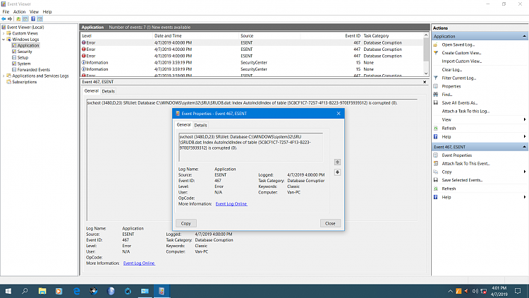 ESENT Messages in Event Viewer Solved - Windows 10 Forums