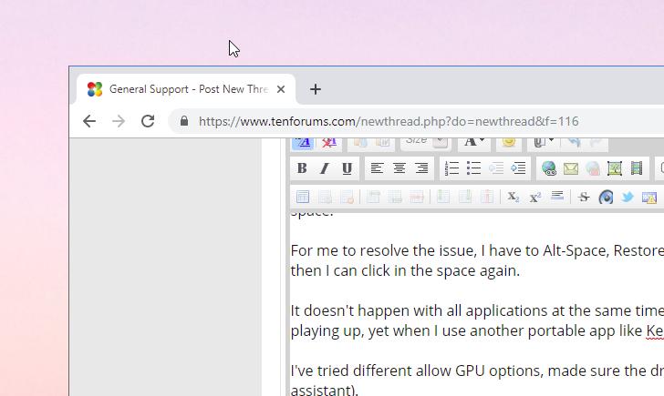Un-clickable Window on Desktop during full screen - Windows