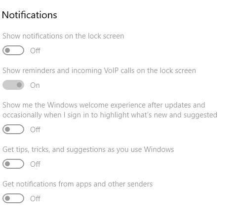 How do I enable the notification settings in windows 10? please help?-grayed-out-settings.png