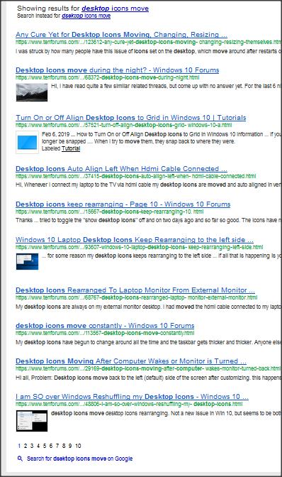 Desktop icons location changes - Windows 10 Forums
