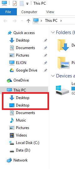 Remove duplicate links under This PC in navigation pane-8p9yp.png