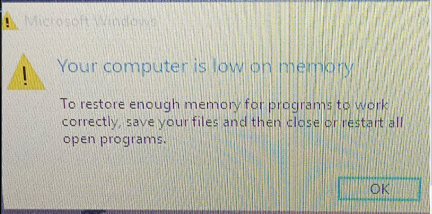 A low memory msg and a win crash on a Dell laptop Solved
